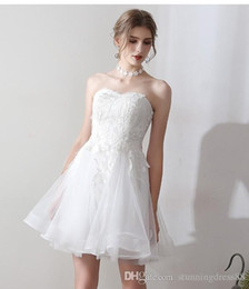 $enCountryForm.capitalKeyWord UK - Cheap 2019Short Wedding Dresses Sweetheart Lace Applique Beaded A line Tulle Wedding Little White Reception Dress Bridal Gowns New