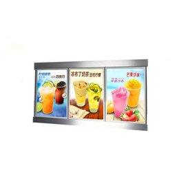 lighted menu boards 2019 - 60x120cm Magnetic Aluminum Led Light Box for Menu Board Restaurant Fast Food Display with 3pcs Light Box Units Wooden Ca