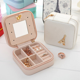 Mirrored cosMetic storage box online shopping - Mini Travel Portable Jewelry Box With Mirror Cosmetic Makeup Organizer Earrings Casket Three tier Storage Box Best Gift EJ893094