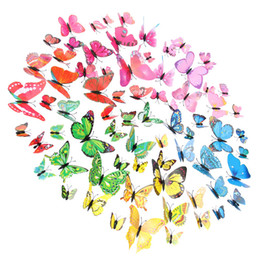 Small Magnets Wholesale UK - 12Pcs 3D Butterfly Wall Sticker Fridge Magnet Removable DIY Art Decor Crafts Magnets and Glue Sticker For Nursery Classroom Offices