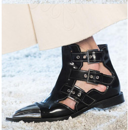 $enCountryForm.capitalKeyWord Australia - Hot Sale-Gladiator Ankle Boots Women Buckle Strap Metal Toe Boots Stiletto Steel Heel High Shoes Female Leather Shoes Summer