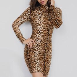 ac3421ad823 Sexy Leopard Print Dress Women Bodycon Slim Long Sleeve Dress Spring Autumn Plus  Size Fashion Turtleneck Mini Dresses