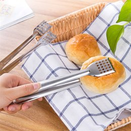 Wholesale Stainless Steel Food Clip BBQ Tongs Meat Barbecue Tools Bread Vegetable Clip Kitchen Accessories Cooking Tool cyq022