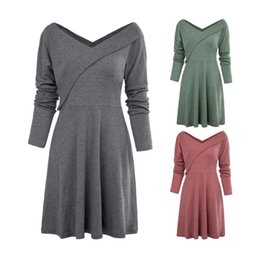 spring business casual NZ - Long Sleeve V Neck Women Dresses Spring Autumn Solid Color Mid Waist Long Dress Casual Ladies Business Dress