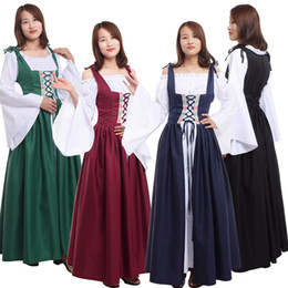 Wholesale corset dress xxl red for sale – plus size Adult Medieval Renaissance Dress for Women Halloween Party Irish Victorian Corset Costume Cosplay Clothes Colors