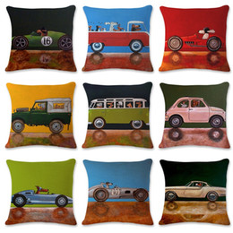 Knitted car pattern online shopping - Water Colour Anime Pillowslip Dog Car Pattern Pillowcase Flax Pillow Cover cmx45cm Living Room Supplies Superior Quality hs C1