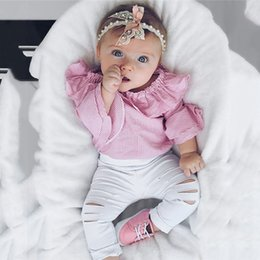 5t romper online shopping - 2pcs Infant Clothing Baby Girl Clothing Striped Romper Torn Trousers Clothes Cute Girl s clothing set
