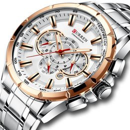 gold pointer Canada - CURREN New Causal Sport Chronograph Men's Watch Stainless Steel Band Wristwatch Big Dial Quartz Watches with Luminous Pointers