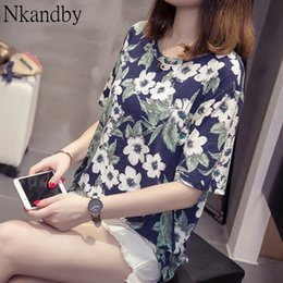bamboo tees Australia - Nkandby Plus Size T-shirt Tops For Women Summer Floral Printing Tee Shirts Casual Loose Short Sleeve Bamboo Cotton Large Tshirt T200517