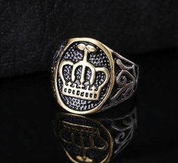 $enCountryForm.capitalKeyWord Australia - Fashion Vintage Stainless Steel Jewelry Ring King Queen Crown Shape Style Heavy Metals Punk Rock Rings For Men Women Gift