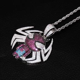 Spiderman necklaceS online shopping - Men spiderman pendant Necklace mens Designer Hip Hop Jewelry man fashion necklaces hiphop Luxury zircon pendants with chains chain NEW