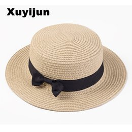 Round stRaw sun hats online shopping - Xuyijun Lady Boater sun caps Ribbon  Round Flat Top fded9277377