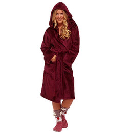 $enCountryForm.capitalKeyWord UK - Winter Plush Bathrobe Women Solid Color thick Warm Coat Home Clothes Long Sleeved Robe Coat Lengthened Shawl Bathrobe Women  PT