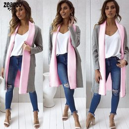 Chinese  Women Casual Lapel Contrast Color Patchwork Spring, Autumn Mid Long Duffle Coat Casual, Street, Party, etc manufacturers