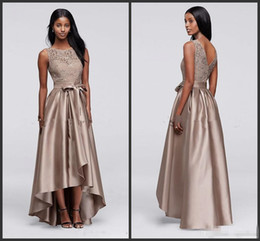Mother bride skirts 24w online shopping - Brown Sequin Lace Dress with Mikado Skirt Mother of the Bride Groom Dresses High Low Jewel Women Formal Party Prom Dress with Bow Sash
