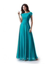 Chinese  Simple Turquoise A-line Lace Chiffon Long Modest Prom Dress With Cap Sleeves New Jewel Floor Length Teal Wed Party Dress manufacturers