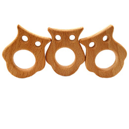 $enCountryForm.capitalKeyWord UK - 4pcs Beech Wooden Cat Teether Unfinished Wood Animal Food Grade Baby Wood Ring Teether DIY Nursing Necklace Charms Pendant