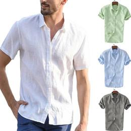 Wholesale dressing shirts online – design Mens Linen Short Sleeve Summer Solid Shirts Casual Loose Dress Soft Tops Tee