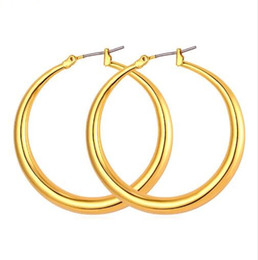 $enCountryForm.capitalKeyWord Canada - Trendy Big Size Style Large Hoop Earrings For Women Fashion 18K Real Gold Plated Basketball Wives Big Size Earrings E424