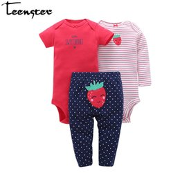 Baby Toddlers Pants UK - Teenster Baby Girl Clothes 3pcs set Rompers&pants Newborn Baby Boy Clothes Toddler Infant Outfit Sets Cartoon Embroidery Printed Y19061303