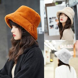 White hats for girls online shopping - Fashion Faux Fur Winter Bucket Hat For Women Girl Solid Thickened Soft Warm Fishing Cap Outdoor Vacation Hat Cap Lady Panama