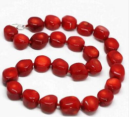 Red Coral Beads Pendants Australia - Women Jewelry Choker Anime Jewel Choker Freshly Red Coral Natural Irregular Beads 9-13mm Fashion Women Necklace