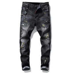 novo estilo slim fit jeans venda por atacado-Big Size Jeans Primavera New Men Paint Paint Hole Style Luxo Jeans Denim Calças Slim Fit Lápis Casual Jeans Grátis Frete Grátis