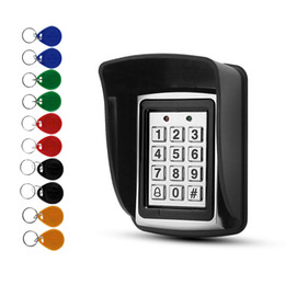 System Cards Australia - RFID Metal Access Control EM Card Reader Keypad with 10 EM4100 keyfobs waterproof protecter cover For Door Access Control System