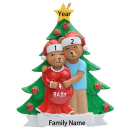 Personalized Christmas Ornaments Gifts NZ - Free Personalization--MAXORA We're Expecting Personalized Pregnant Bear Family Christmas Ornaments Christmas Gift Home Decoration