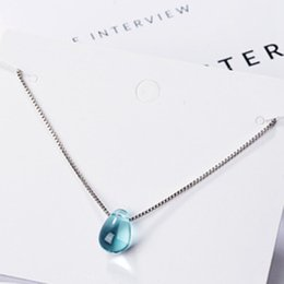 Artificial Chains Wholesalers Australia - Literary Artificial Blue Crystal Water Drop Necklace Simple Waterdrop Clavicle Chain Necklace For Women Choker Jewelry Gift