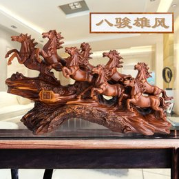 tv cabinet decoration UK - Living Room Home Decoration Eight Junxiong Feng Horse Decoration New Chinese Style Home Living Room Wine Cabinet TV Cabinet Porch Decoration