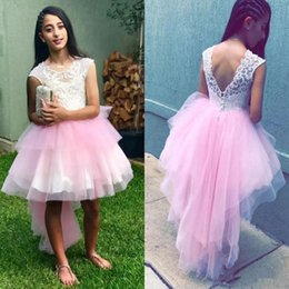$enCountryForm.capitalKeyWord Australia - Summer Hi_Lo Flower Girls Dresses Weddings Jewel capped Lace Top Tutu Skirt Girls Pageant Dresses Back Covered Buttons Kids Birthday Gowns