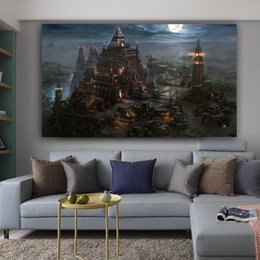 $enCountryForm.capitalKeyWord Australia - 1 Panel Canvas Painting Cartoon Castle Moonlight Buildings Posters And Prints Moon Cuadros Wall Art Picture For Living Room No Frame