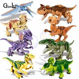 Jurassic World Toys Australia - New 8pcs set Jurassic Worlds 2 Parks Dinosaurs Tyrannosaurs Rex Carnotaurus Indoraptor Building Blocks Models Diy Toys Best Gift Y190606