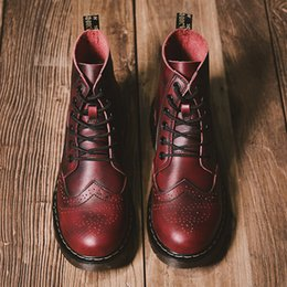 f14a2cf9b2d03 Men's Boots New Big Brogue Martens Tooling Leather Winter Warm Shoes  Motorcycle Mens Ankle Boot Men Oxfords Shoe Size 38-47