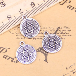shield plating NZ - 7pcs Charms star of david shield of david 15mm Antique Silver Plated Pendants DIY Handmake Tibetan Silver Bracelet Necklace