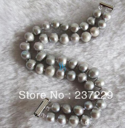 Freshwater pearl silver bracelets online shopping - price quot mm Row Silver Gray Freshwater Pearl Bracelet Strand