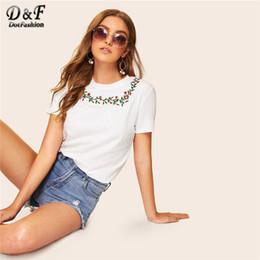Korean Floral Shirt Wholesale Australia - Dotfashion White Embroidered Floral Detail Tee Summer Tops For Women Clothes 2019 Casual Short Sleeve Korean Fashion T-Shirt