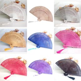 wooden art decor 2020 - Party Favor Home Decor Crafts Bamboo Wooden Fan Summer Accesory Hand Fans Weddings Parties Art Folding Carved Fragrant W