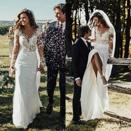 $enCountryForm.capitalKeyWord Australia - Modest Long Sleeves Slim Mermaid Wedding Dresses 2019 Lace Appliques Country Garden Bridal Gowns Customized Formal Plus Size Robe De Mariee