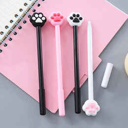 $enCountryForm.capitalKeyWord Australia - 2Pcs lot Cute Pens Animal Cat Pink Black Heart Gel Pens Signature School Office Supply Promotional Gift Stationery