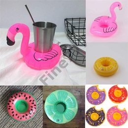 hot bar Australia - Hot Sale Inflatable Flamingo Drinks Cup Holder Pool Floats Bar Coasters Floatation Devices Children Bath Toy small size