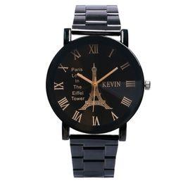 Watches Gifts For Girlfriend NZ - gift confirmation Vintage Paris Eiffel Tower Dial Wrist Watch Women Lady Girl Quartz Watches Gift for Girlfriend Wristwatch W17110
