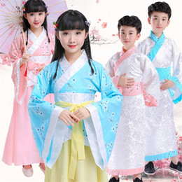 Wholesale woman fairy costume resale online - Children Traditioanl Chinese Hanfu Girls Retro Fairy Folk Dance Costumes Kids Stage Performance Clothes Oriental Tang Suit