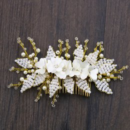 Price Hair Combs NZ - Flower Leaf Pearl Hair Combs Fashion Jewelry Womens Accessories Wedding Hair Ornaments Headband For Women Price: US $11.20   piece