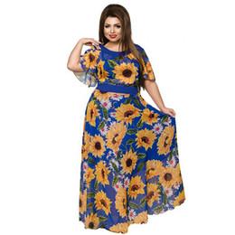 $enCountryForm.capitalKeyWord NZ - 6xl Sunflower Party Plus Women Clothing Summer Beach 2019 Sexy Maxi Big Size Chiffon Long Dress J190430