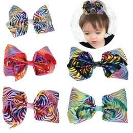 Wholesale new quot JoJo Clip Large Rainbow Unicorn Bow knot Print Grosgrain Ribbon Hair Bows With Clip Kids Handmade Hair Accessory