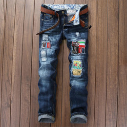 $enCountryForm.capitalKeyWord Australia - Badge Hole Men Jeans Full Length Patchwork Fashion Bleached Washed Male Distressed Pleated Slim Straight Pattern Patches