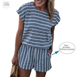 Jumpsuits for beach online shopping - Striped Loose Playsuits Bodysuit Women Summer Casual Beach Jumpsuit Shorts Short Sleeve Elegant Overalls For Women