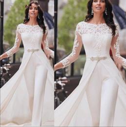 $enCountryForm.capitalKeyWord Australia - White Jumpsuit Evening Dresses with Long Sleeve Sheer Neck Dubai Arabic Evening Gown Party Pants abiye formal dress